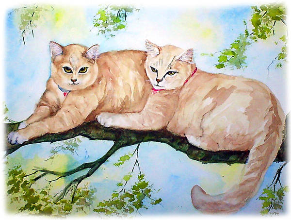 Feline Art Print featuring the painting Milo And Timon by Gina Hall