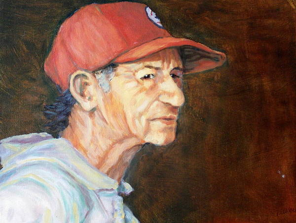 Old Man Art Print featuring the painting Man In Red Cap by Ruth Mabee