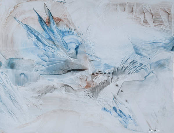 Contemporary Abstract Expressionism Art Print featuring the painting Wings Of A Dove by Sharon Saxon