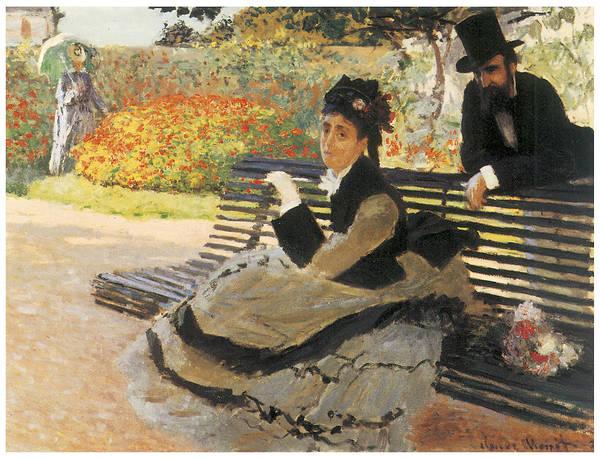 Madame Monet On A Garden Bench Art Print featuring the painting Madame Monet On A Garden Bench by Claude Monet