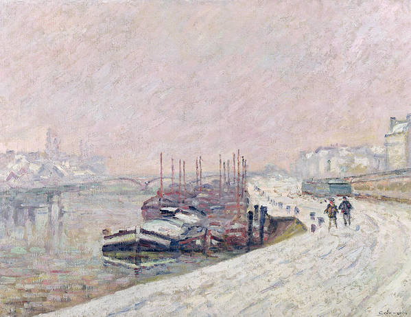 Neige A Rouen Art Print featuring the painting Snow In Rouen by Jean Baptiste Armand Guillaumin