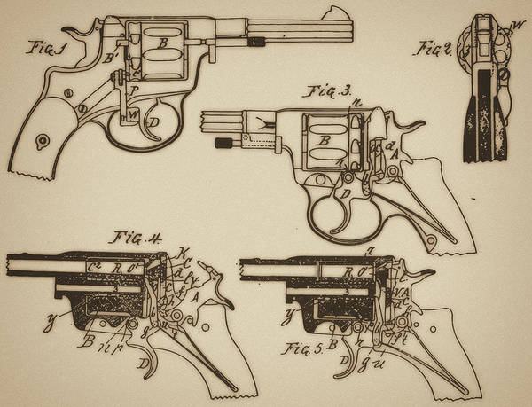 Ammunition Art Print featuring the mixed media Vintage Colt Revolver Drawing by Nenad Cerovic