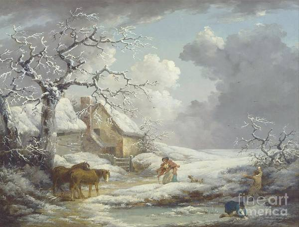 Pd Art Print featuring the painting Winter Landscape by Pg Reproductions