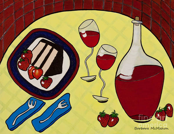 Strawberry Wine Art Print featuring the painting Strawberry Wine by Barbara McMahon