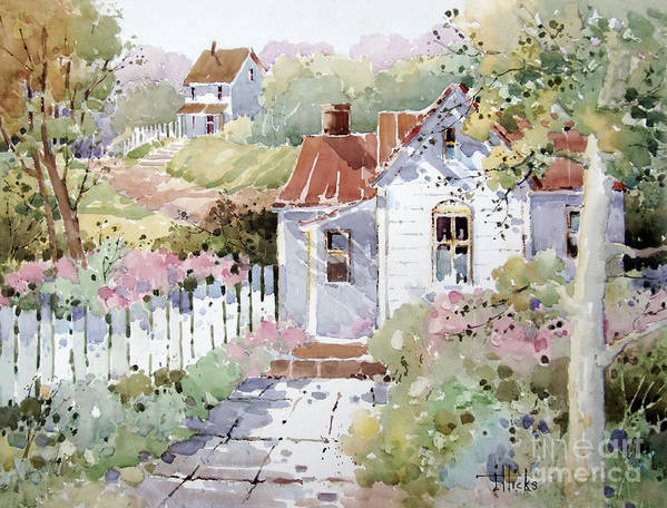 Cottage Art Print featuring the painting Summer Time Cottage by Joyce Hicks