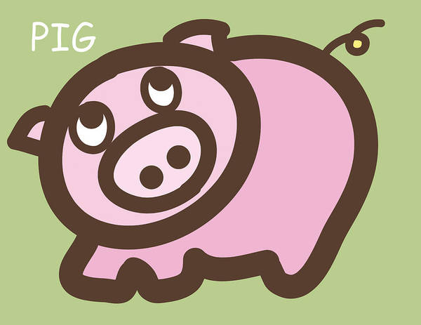 Pig Art Print featuring the digital art Baby Pig Art For The Nursery by Nursery Art