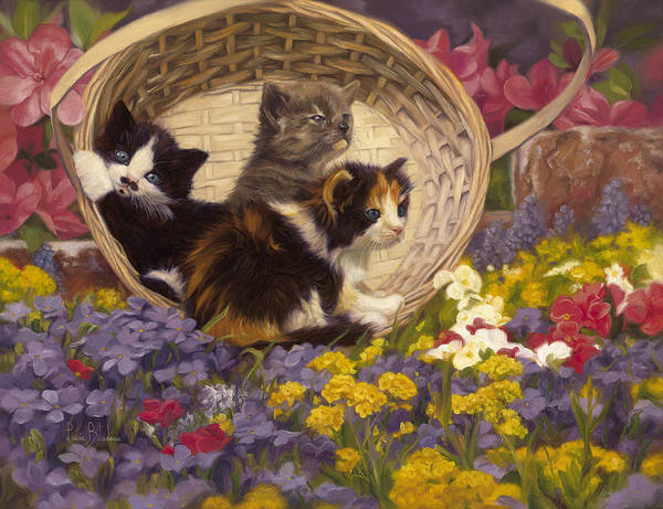 Cat Art Print featuring the painting A Basket Of Cuteness by Lucie Bilodeau
