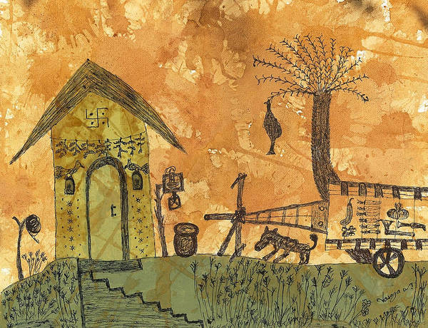 Rural Print featuring the painting A Farm In India With Hut And Bull Cart by Nikunj Vasoya