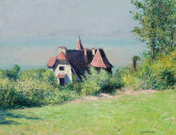 Impressionist; Landscape; Rural; Countryside; France; French; En Plein Air; Plein Air; Villa; Trouville; Resort; Holiday; Vacation; Coast; Coastal; Seaside; House; Home; Impressionism; Gustave; Caillebotte; Fresh Air; Relax; Tranquil; Tranquility; Serene; Serenity; Calm; Peaceful; Break; Country; Field; Grass; Nature; Idyllic; Natural; Rustic; Quaint; Escape; Safe Haven; Refuge; Peace Of Mind; Halcyon; One With Nature; Garden; Sky; Blue; Green; Greenery; Brick Red; Homely; Quotidian; Normality Art Print featuring the painting A Villa At Trouville by Gustave Caillebotte