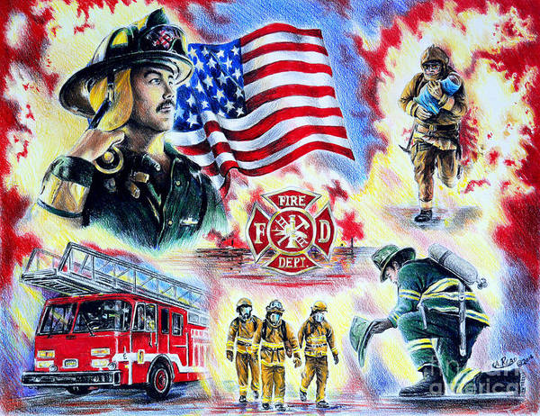 Firefighter Art Print featuring the drawing American Firefighters by Andrew Read