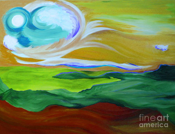 First Star Art Print featuring the painting Angel Sky Green By Jrr by First Star Art