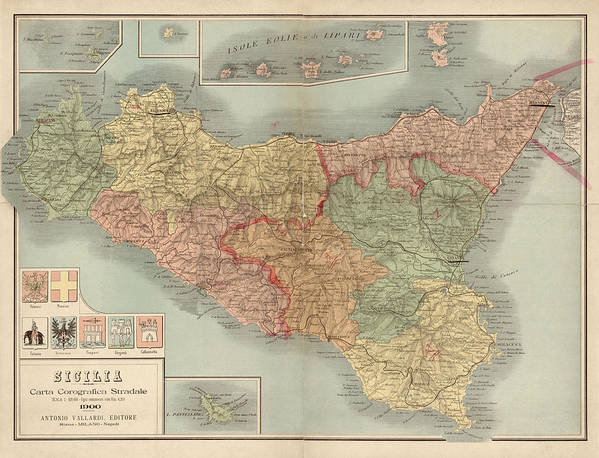 picture relating to Printable Map of Sicily titled Antique Map Of Sicily Italy Via Antonio Vallardi - 1900 Artwork Print