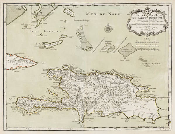 Dominican Republic Art Print featuring the drawing Antique Map Of The Dominican Republic And Haiti By Jacques Nicolas Bellin - 1745 by Blue Monocle
