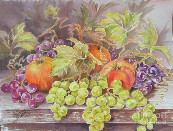 Fruit Art Print featuring the painting Apples And Grapes by Summer Celeste