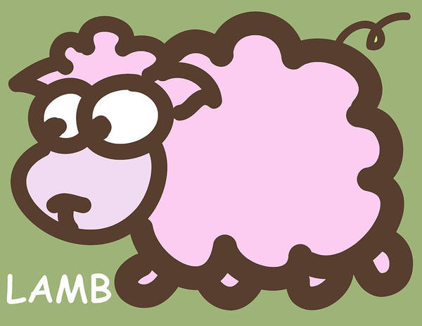 Lamb Art Print featuring the digital art Baby Lamb Nursery Art by Nursery Art