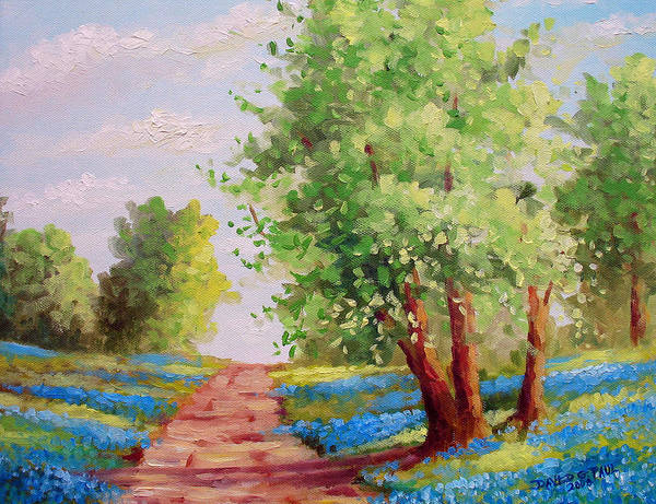 Bluebonnets Art Print featuring the painting Backroad Bluebonnets by David G Paul
