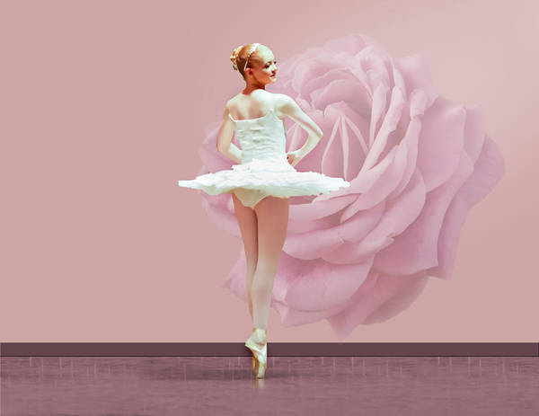 Ballet Art Print featuring the photograph Ballerina In White With Pink Rose by Delores Knowles