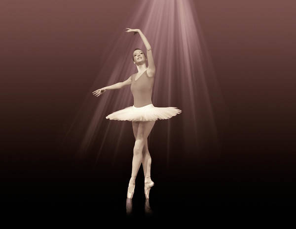 Ballet Art Print featuring the photograph Ballerina On Pointe In Russet Tint by Delores Knowles