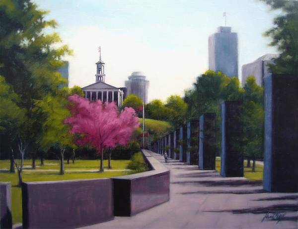 Capital Building In Nashville Tennessee Print featuring the painting Bicentennial Capital Mall Park by Janet King