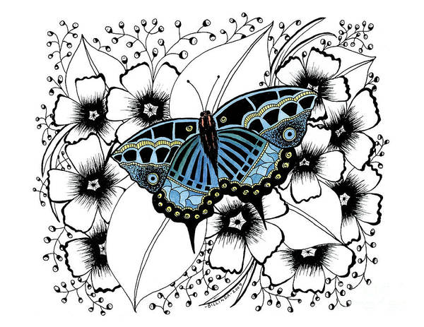 Pen And Ink Art Print featuring the painting Blue Butterfly by Billinda Brandli DeVillez