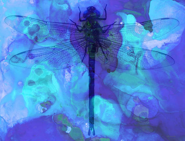 Dragonfly Print featuring the painting Blue Dragonfly By Sharon Cummings by Sharon Cummings