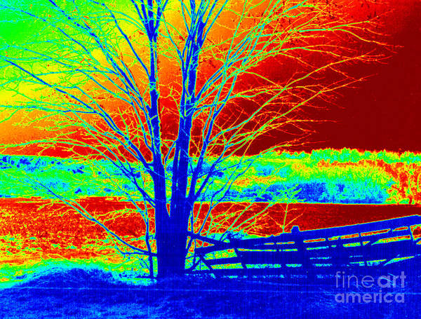 Abstract Art Print featuring the painting Blue Tree On Red And Green Background by Debbie Wassmann