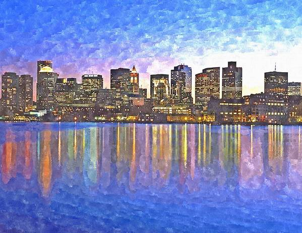 Boston Art Print featuring the painting Boston Skyline By Night by Rachel Niedermayer