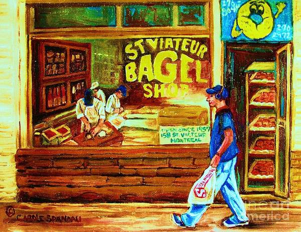 St.viateur Bagel Art Print featuring the painting Boy With The Steinbergs Bag by Carole Spandau