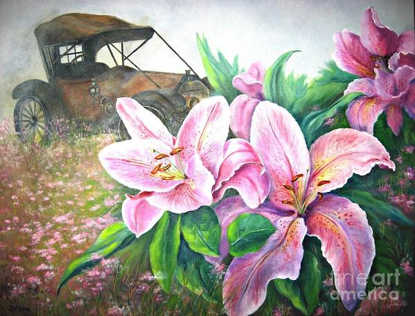 Lilies Art Print featuring the painting By Gone Days by Patricia Lang