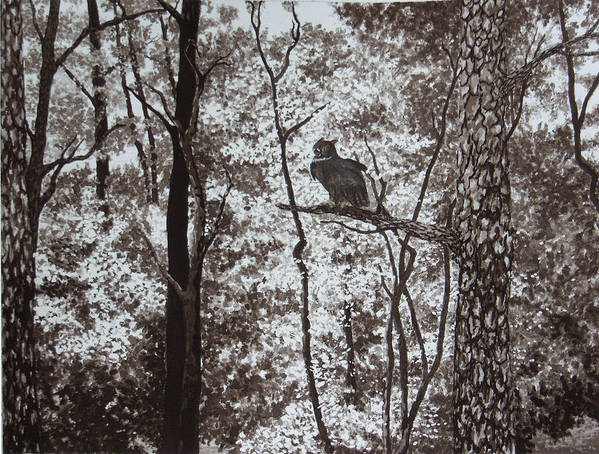 Landscape Art Print featuring the painting Callaway Great Horned Owl by Beth Parrish