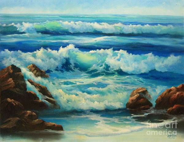 Seascape Art Print featuring the painting Carmel By The Sea by Gail Salitui