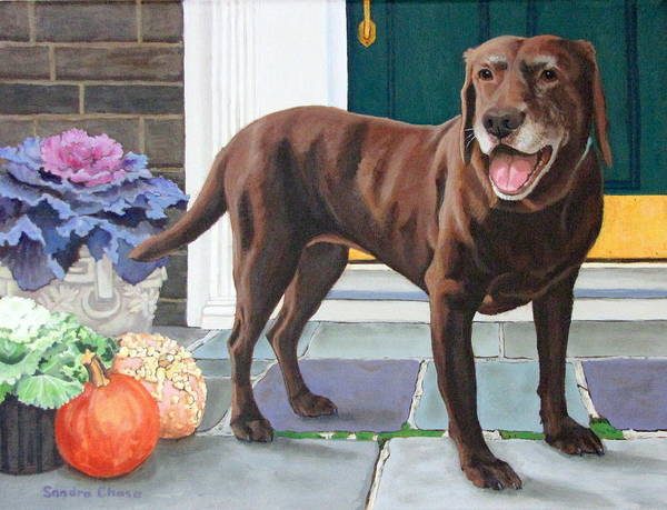 Dog Art Print featuring the painting Chelsea At The Door by Sandra Chase