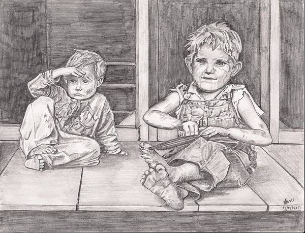 Boys Art Print featuring the painting Children Of The Appalachians by Beverly Marshall
