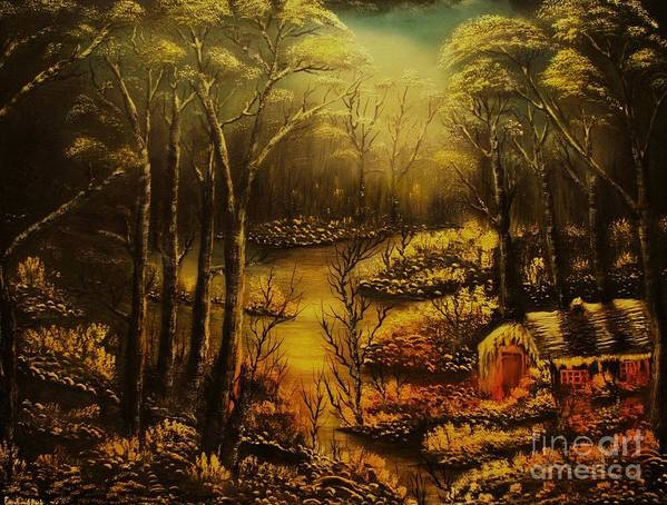 Landscape Art Print featuring the painting Christmas Eve Mood- Original Sold-buy Giclee Print Nr 34 Of Limited Edition Of 40 Prints by Eddie Michael Beck