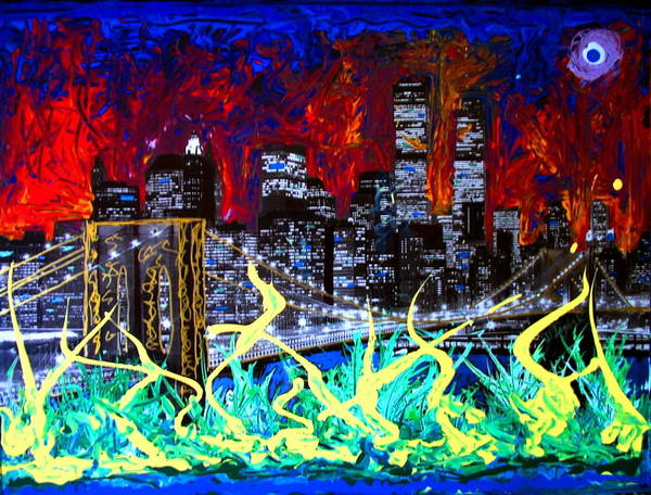 Skyline Art Print featuring the painting City Escape By Darryl Kravitz by Darryl Kravitz
