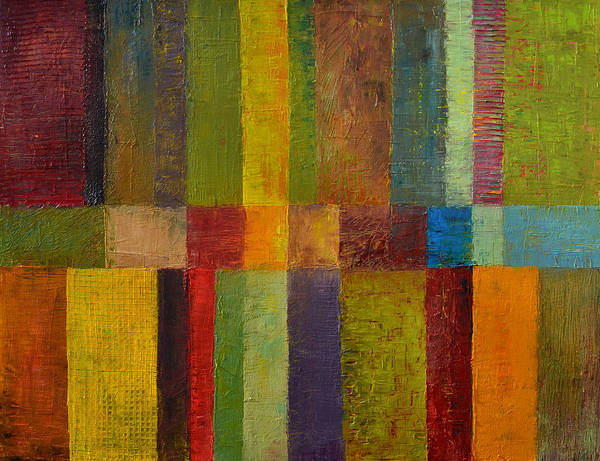 Abstract Art Print featuring the painting Color Panel Abstract Ll by Michelle Calkins