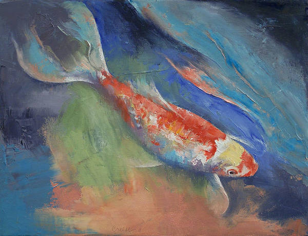 Coral Art Print featuring the painting Coral And Moonstone by Michael Creese