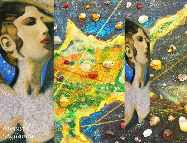 Augusta Stylianou Art Print featuring the painting Cyprus And Aphrodite by Augusta Stylianou