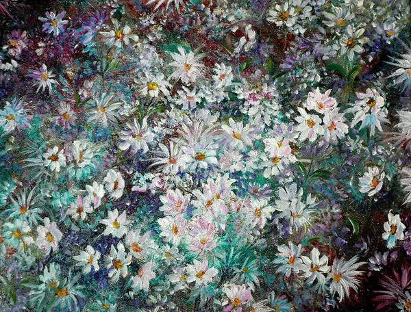 Has A White Frame Art Print featuring the painting Daisy Dreamz Remix by Karin Dawn Kelshall- Best