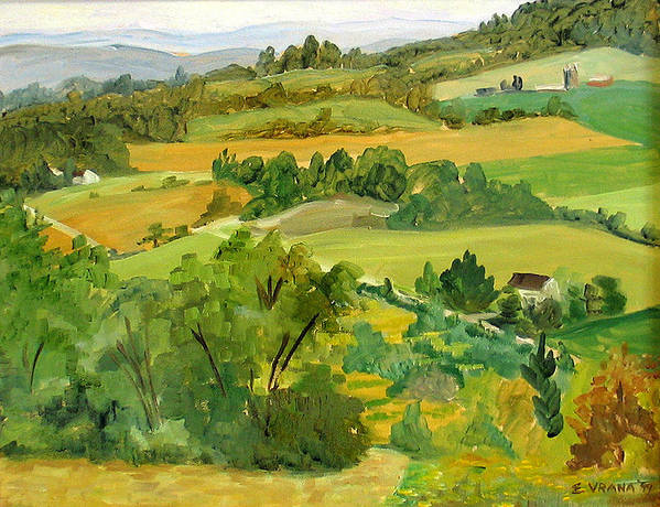 View From Daisy Hollow Art Print featuring the painting Daisy Hollow Dryden New York by Ethel Vrana