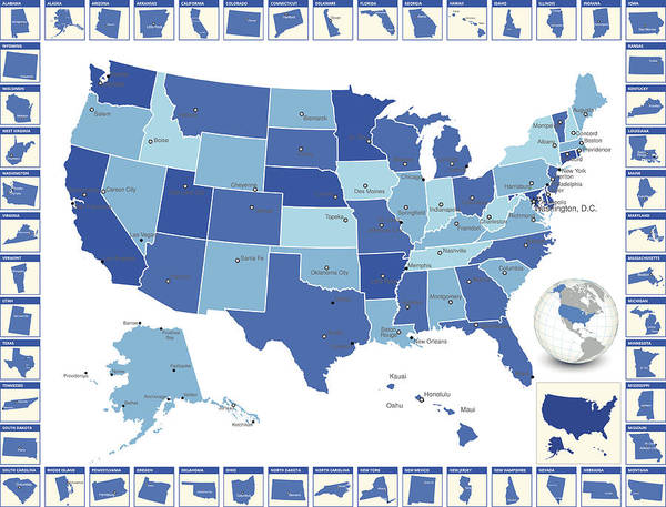 Detailed Royalty Free Vector Us State Map With Cities Art Print by ...