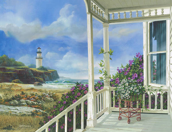 Lighthouse Art Print featuring the painting Distant Dreams by Michael Humphries