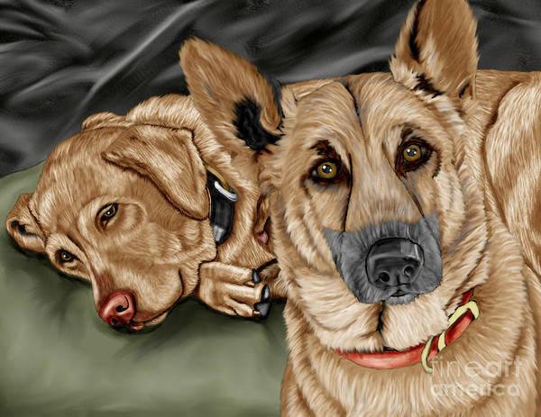 German Shepherd Art Print featuring the painting Dogs by Karen Sheltrown