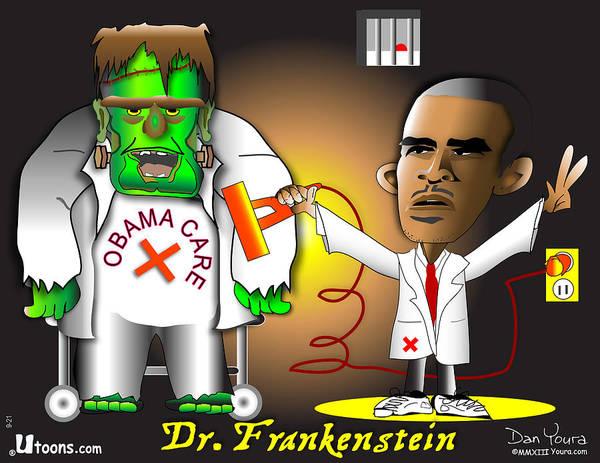 Obama Art Print featuring the digital art Dr. Frankenstein Shocks Monster by Dan Youra