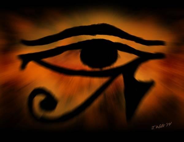 Egyptian Art Art Print featuring the painting Eye Of Horus Eye Of Ra by John Wills