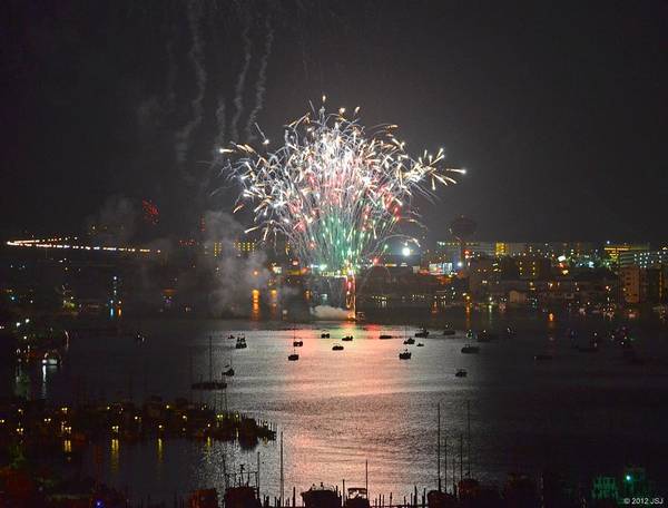 Fireworks Art Print featuring the photograph Fireworks At Night For The 4th Of July Over Fort Walton Beach From 14th Floor Balcony by Jeff at JSJ Photography