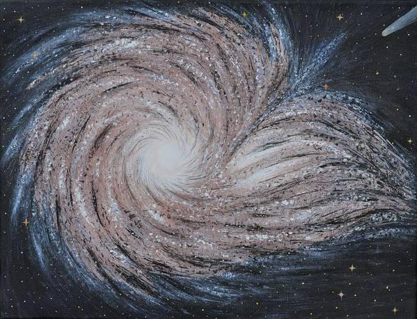 Sky Art Print featuring the painting Galactic Amazing Dance by Georgeta Blanaru