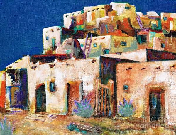 Adobe Art Print featuring the painting Gateway Into The Pueblo by Frances Marino