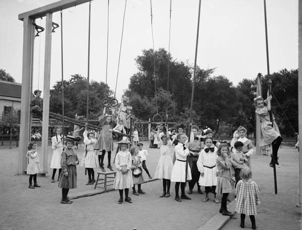 Girl Girls Children Playground Photograph Vintage 1899 Print featuring the photograph Girls Playground 1899 by Steve K