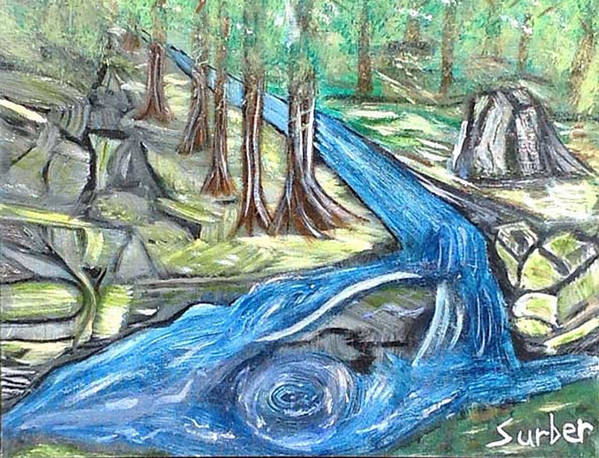River Art Print featuring the painting Green Trees With Rocks And River by Suzanne Surber